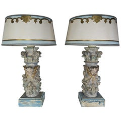 Pair of Custom Painted Carved Cherub Lamps with Painted Parchment Shades