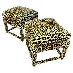 Pair of Custom Leopard Parsons Style Ottomans