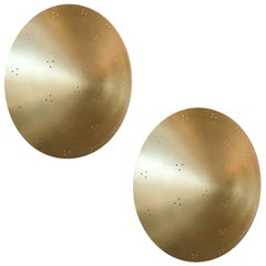 Pair of Custom Perforated Metal Brass Conical / Convex Sconces