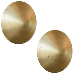 Pair of Custom Perforated Metal Brass Conical or Convex Sconces