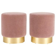Pair of Custom Pink Pouf Ottomans