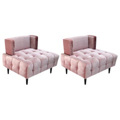 Pair of Custom Pink Silk Velvet Tufted Lounge Chairs by Adesso Imports