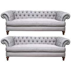 Pair of Custom Quality Blue Silk Chesterfield Sofas