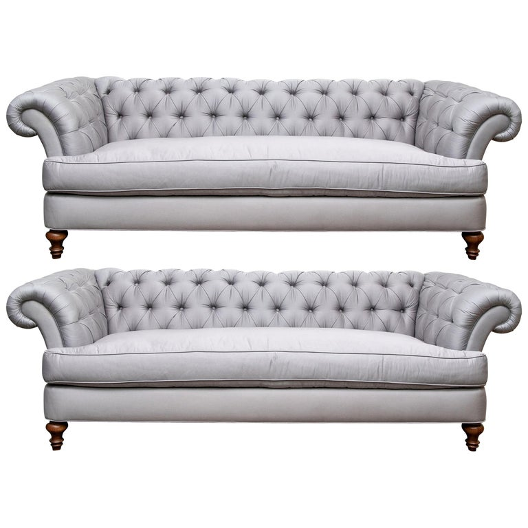 Pair Of Custom Quality Blue Silk Chesterfield Sofas For