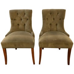 Pair of Custom Quality Finely Upholstered Side / Desk Chairs
