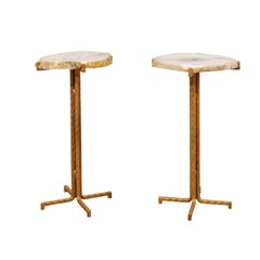 Pair of Custom Quartz Top Drink Tables with Gold Iron Base