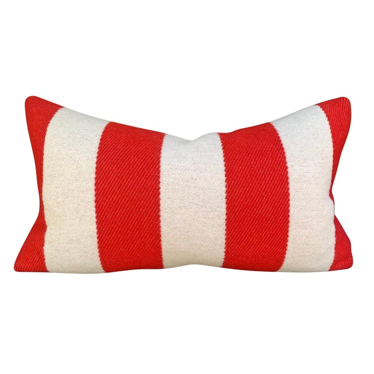 Rustic Pair of Custom Red and White Striped Wool Lumbar Pillows For Sale