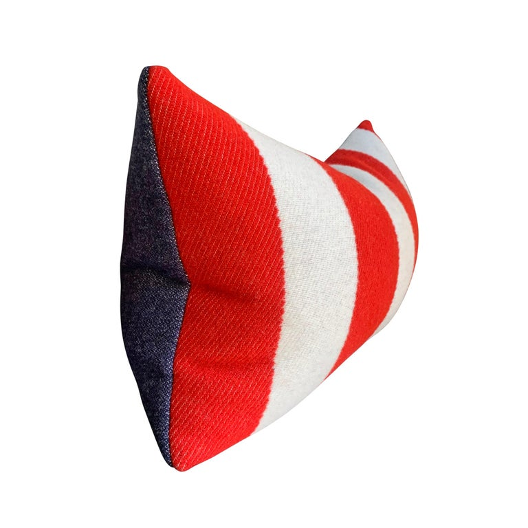 American Pair of Custom Red and White Striped Wool Lumbar Pillows For Sale