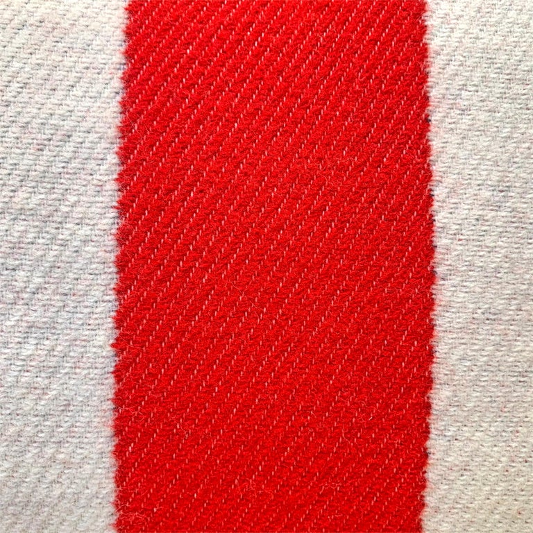 Pair of Custom Red and White Striped Wool Lumbar Pillows For Sale 3