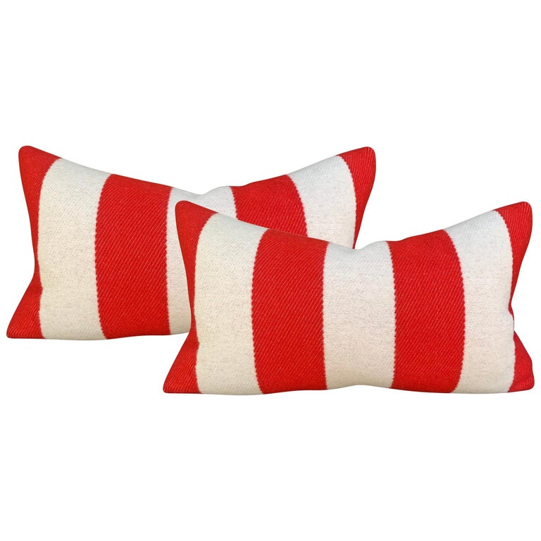 Pair of Custom Red and White Striped Wool Lumbar Pillows For Sale