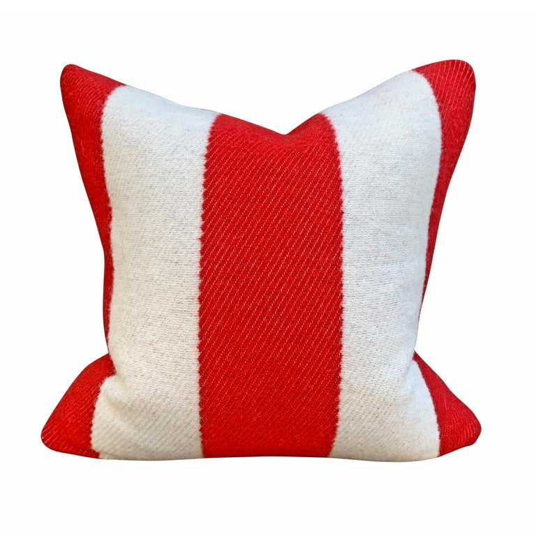 Rustic Pair of Custom Red and White Striped Wool Pillows For Sale