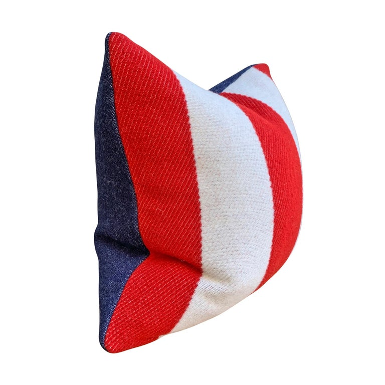 American Pair of Custom Red and White Striped Wool Pillows For Sale