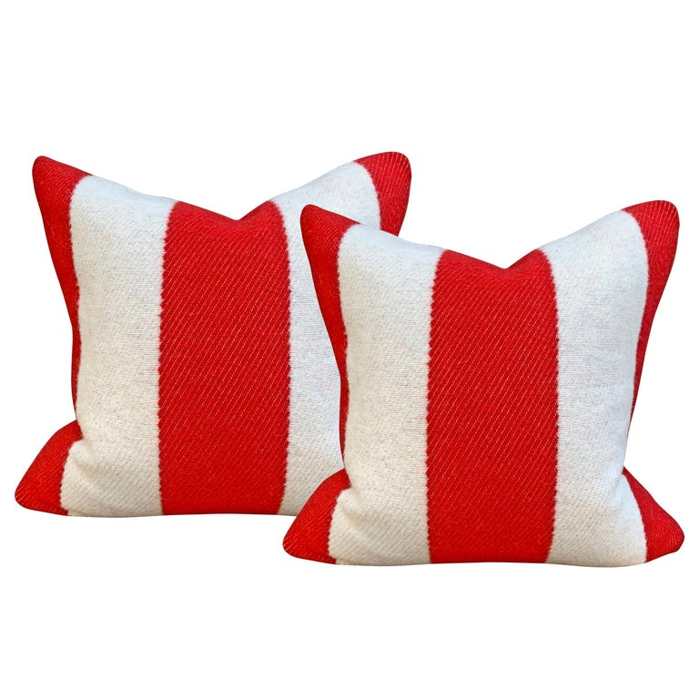 Pair of Custom Red and White Striped Wool Pillows For Sale