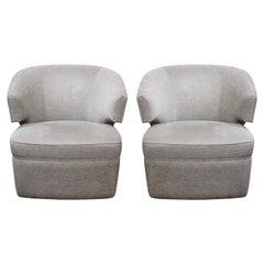 Pair of Custom Short Arm Swivel Tub Chairs