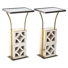 Pair of Custom Side Tables made from Reclaimed Midcentury Architectural Pieces
