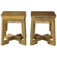 Pair of Custom Side Tables / Nightstands by James Mont