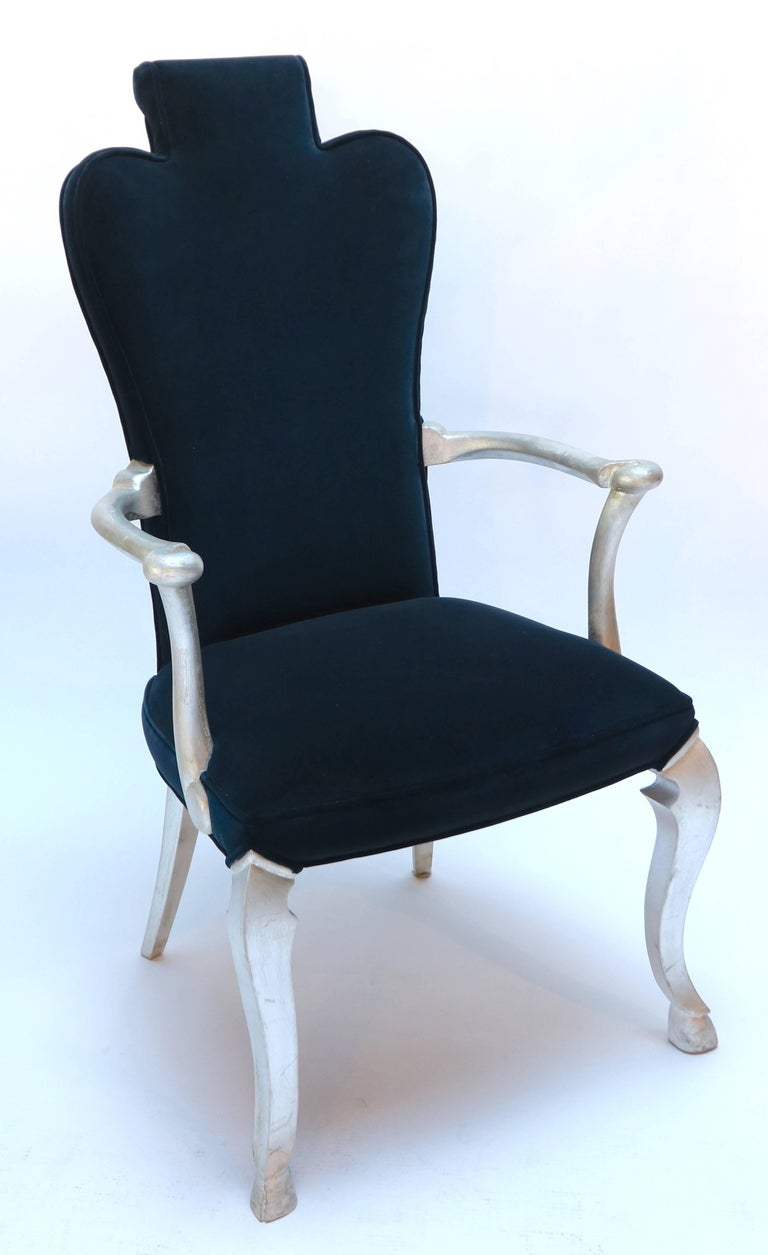 Pair of Custom Silver Leaf Velvet Armchairs For Sale at ...