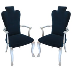 Pair of Custom Silver Leaf Velvet Armchairs by Adesso Imports