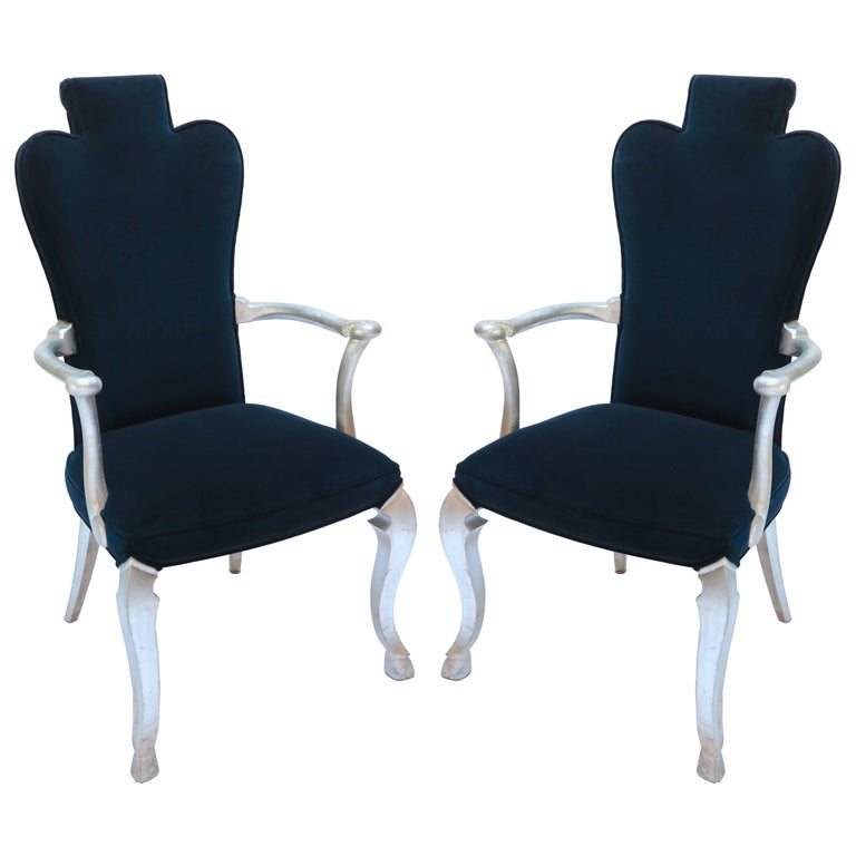 Pair of Custom Silver Leaf Velvet Armchairs