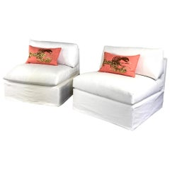 Pair of Custom Slipper Chairs with Custom Linen Slipcovers