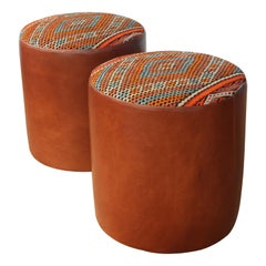 Pair of Custom Stools in Leather with Moroccan Rug Upholstery