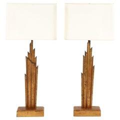 Pair of Custom Sunburst Lamps