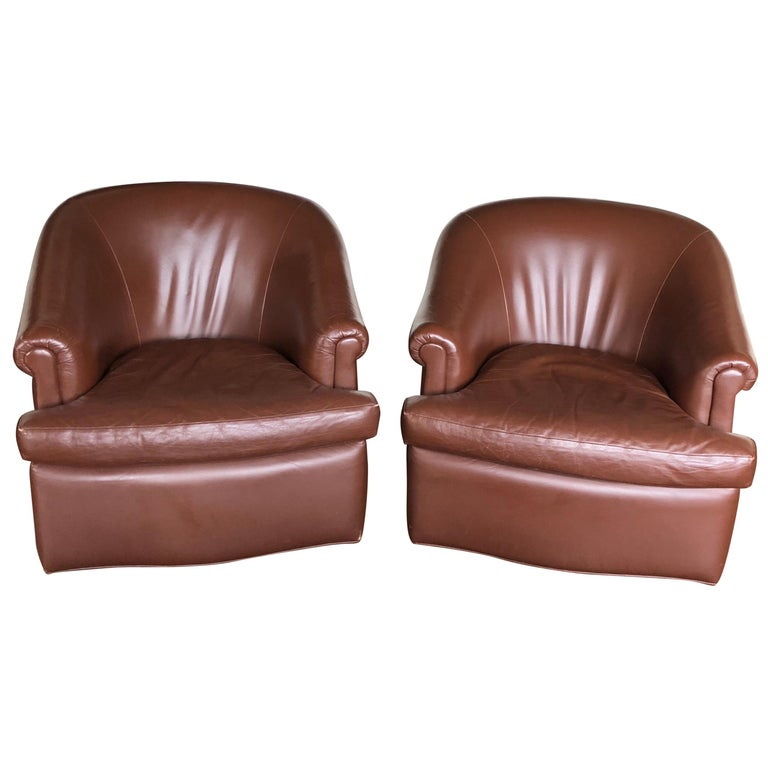 Pair of Custom Swivel Club Chairs in Rich Brown Leather For Sale