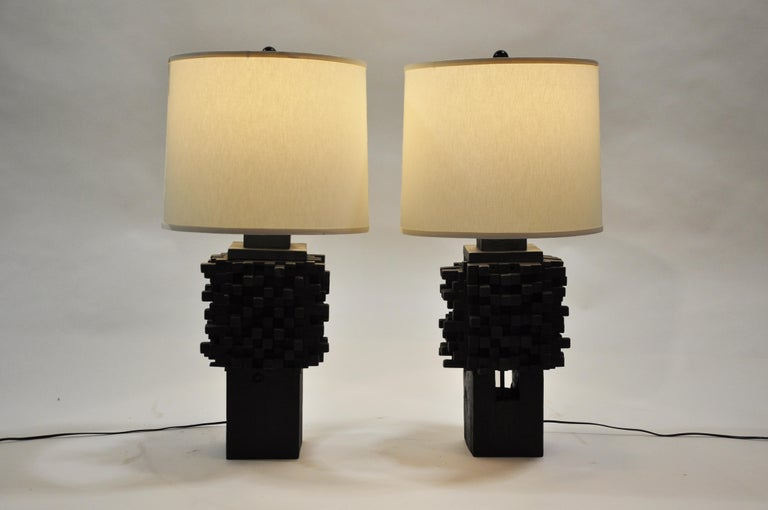 Pair of Custom Table Lamps Made from Reclaimed Teak Wood For Sale 5