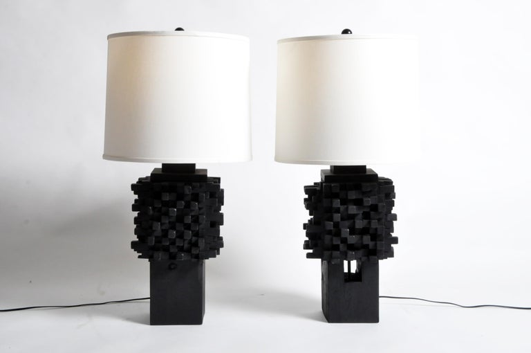 Pair of Custom Table Lamps Made from Reclaimed Teak Wood For Sale 6
