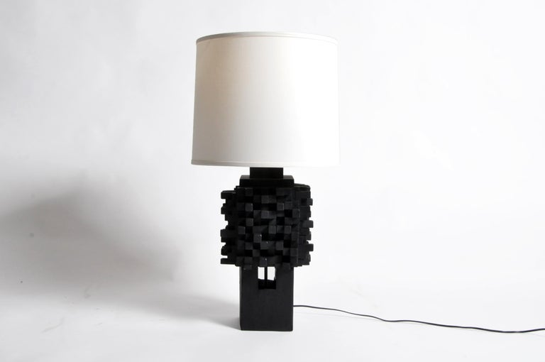 American Pair of Custom Table Lamps Made from Reclaimed Teak Wood For Sale