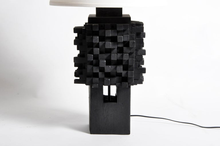 Pair of Custom Table Lamps Made from Reclaimed Teak Wood In Good Condition For Sale In Chicago, IL