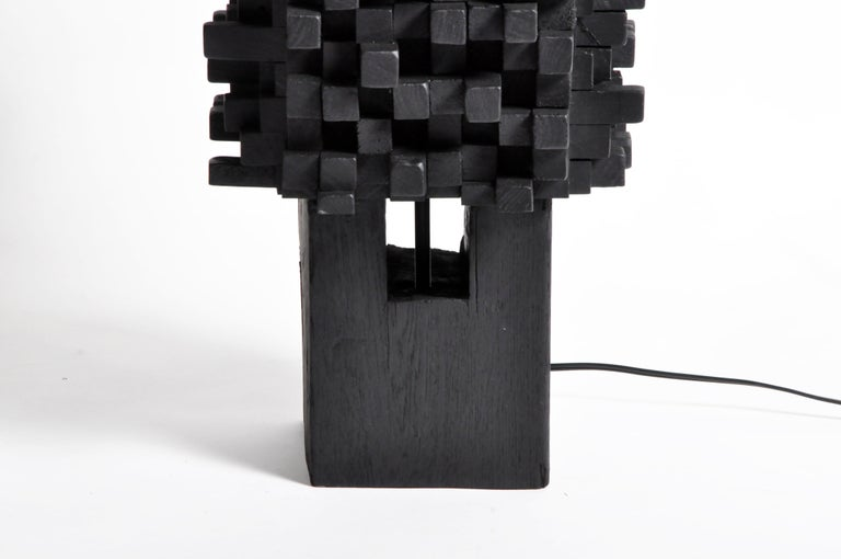 Pair of Custom Table Lamps Made from Reclaimed Teak Wood For Sale 1