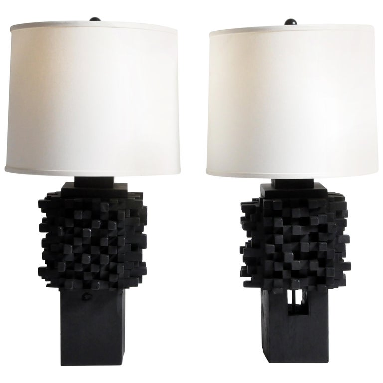 Pair of Custom Table Lamps Made from Reclaimed Teak Wood For Sale