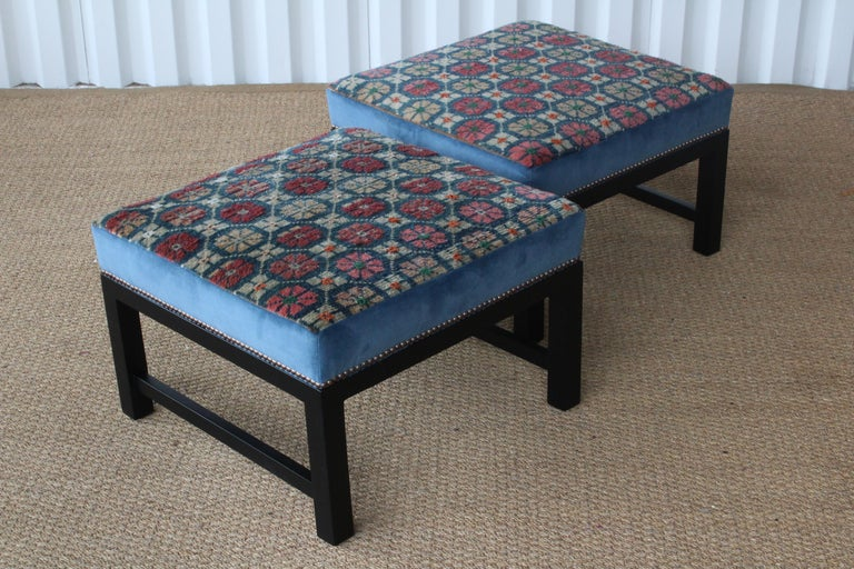 Pair of Custom Tibetan Rug Stools In New Condition For Sale In Los Angeles, CA