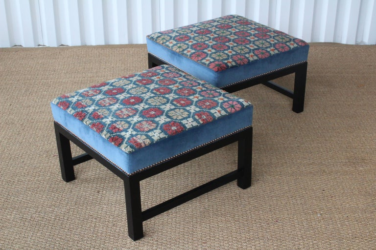 Contemporary Pair of Custom Tibetan Rug Stools For Sale