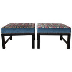 Pair of Custom Tibetan Rug Stools