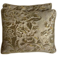 Pair of Custom Tortoise Colored Fortuny Pillows