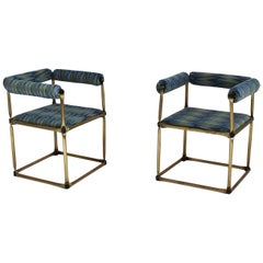Pair of Custom Tubular Brass Studio Armchair After Verner Panton, 1970s