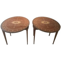 Pair of Custom Two-Drawer Drop-Leaf Demilune/Side Tables in the Regency Style