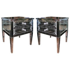 Pair of Neoclassical Modern 2-Drawer Silver Trim Mirrored Nightstands