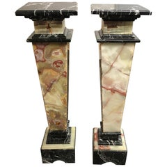 Pair of Custom Two-Toned Marble Pedestals