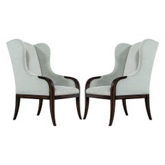 Pair of Custom Velvet Wing Chairs by Carrocel