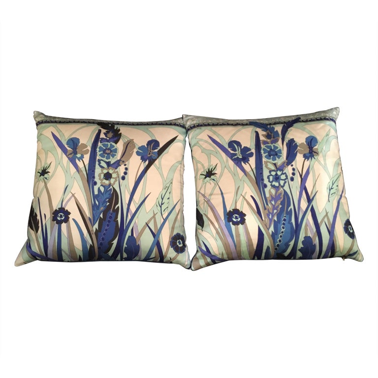 Pair of Custom Vintage Silk Emilio Pucci Pillows For Sale
