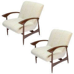 Pair of Custom Walnut Armchairs in Ivory Boucle by Adesso Imports