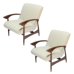 Pair of Custom Walnut Armchairs in Ivory Boucle