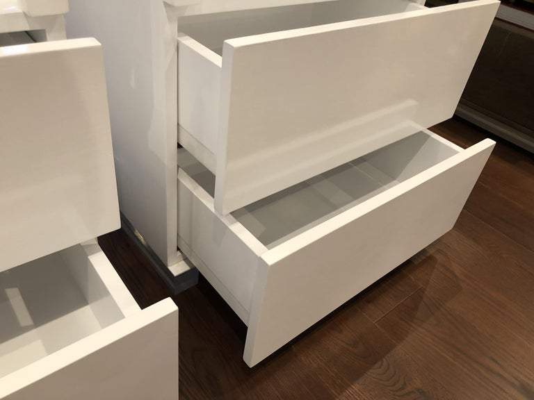 Pair of Custom White Lacquer and Lucite Nightstands by Cain Modern For Sale 8
