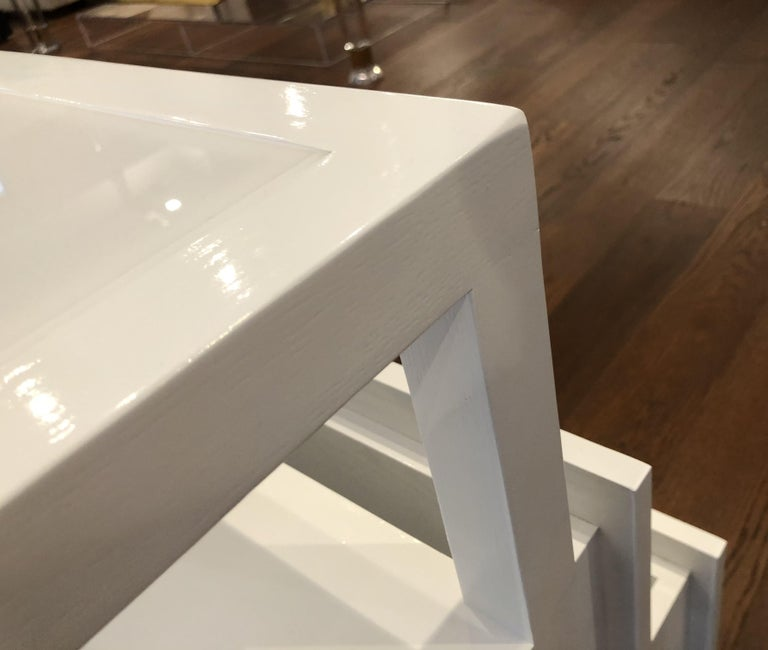 Pair of Custom White Lacquer and Lucite Nightstands by Cain Modern For Sale 10
