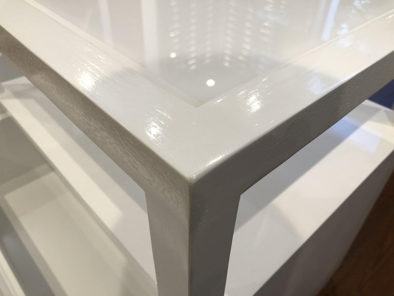 Pair of Custom White Lacquer and Lucite Nightstands by Cain Modern For Sale 12