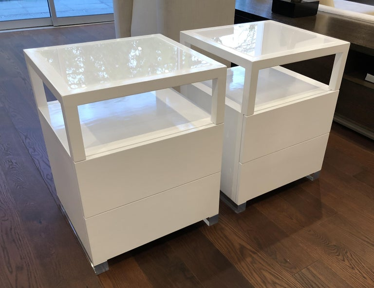 American Pair of Custom White Lacquer and Lucite Nightstands by Cain Modern For Sale