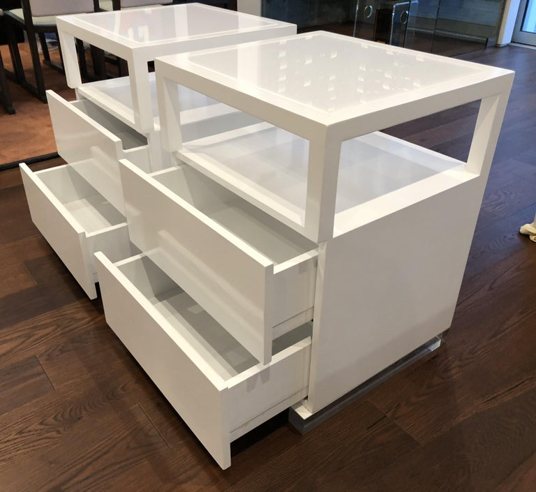 Laminated Pair of Custom White Lacquer and Lucite Nightstands by Cain Modern For Sale